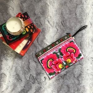 Unique Beautiful Embroidered Clutch Wristlet